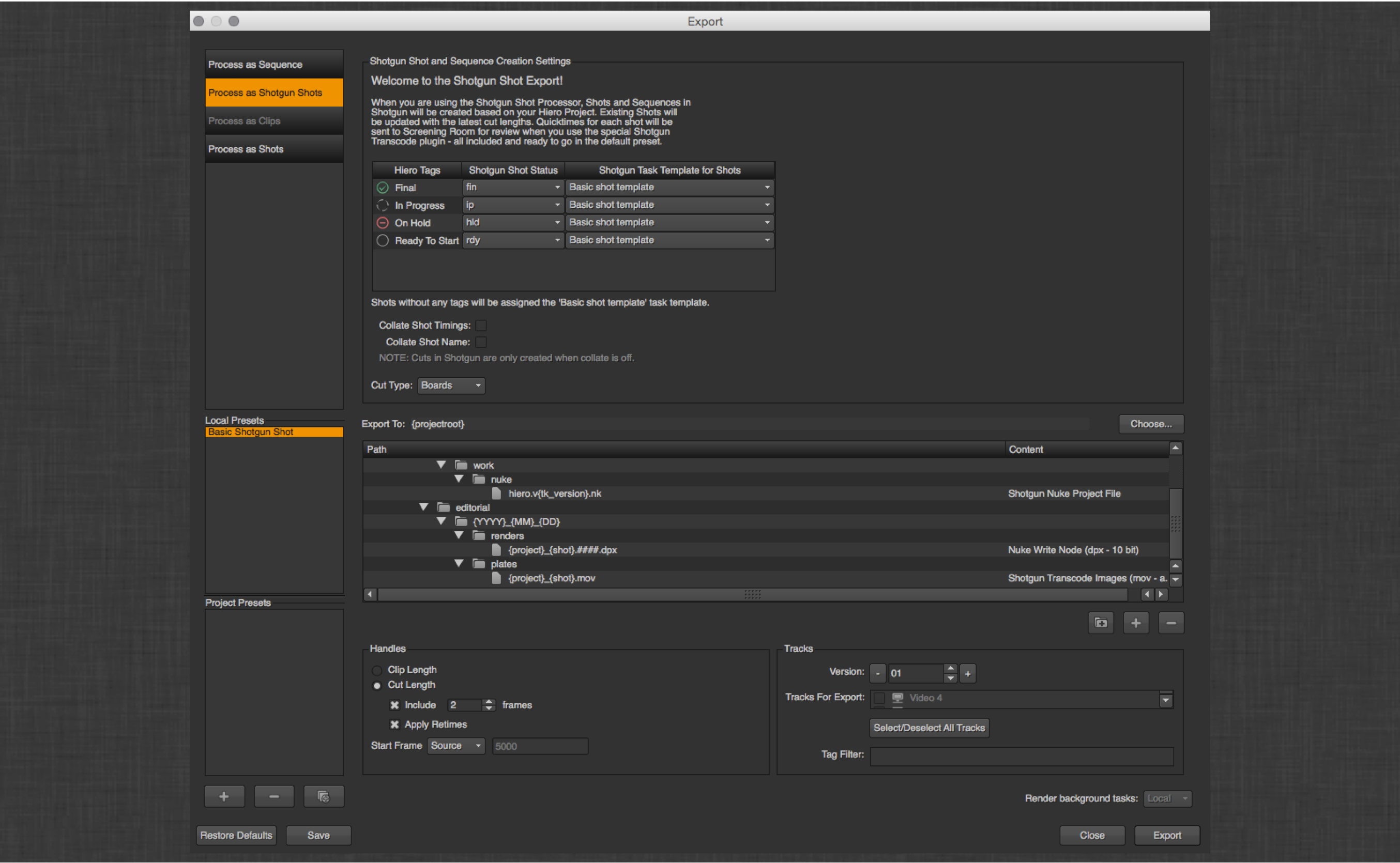 Nuke Studio - Shotgun aware exporting – Shotgun Support