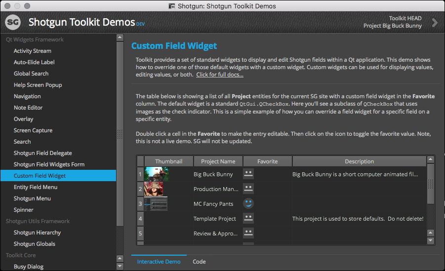 Widget Demos – Shotgun Support